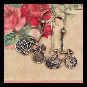 Vintage sterling bicycle earrings